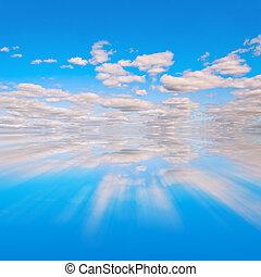 ciel bleu, reflet