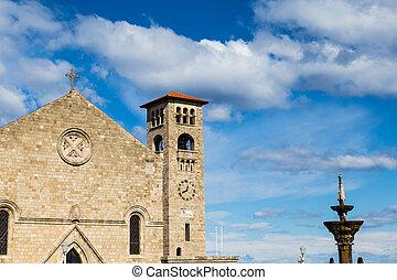 ciel bleu, rhodes, église, contre, grèce