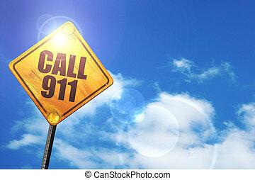 ciel bleu, signe jaune, appeler, blanc, clouds:, 911, route