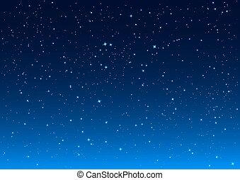 ciel bleu, sombre, clair, étoiles, nuit