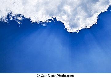 ciel bleu, sunrays