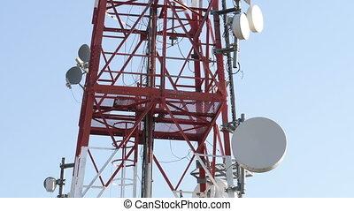 ciel bleu, télécommunication, cellulaire, contre, tour
