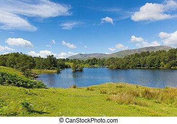 ciel bleu, tarn, hows, district lac