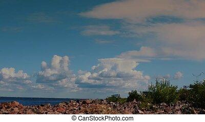 ciel bleu, timelapse, voler, golfe, finlande, sur, clouds.