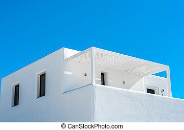 ciel bleu, traditionnel, santorini, maison, blanc