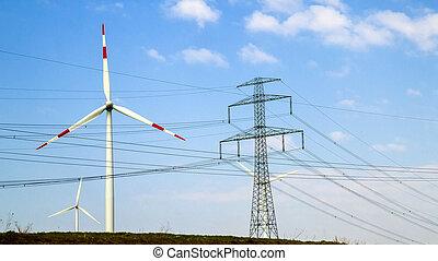 ciel bleu, turbines, contre, haute tension, tour, vent