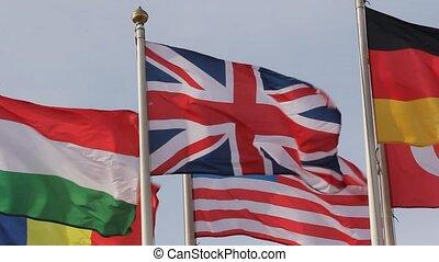 ciel bleu, uni, groupe, drapeaux
