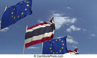 ciel bleu, union, contre, animation, drapeaux, loopable, thaïlande, européen, 3d