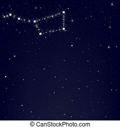 ciel bleu, ursa, constellation, commandant, sombre