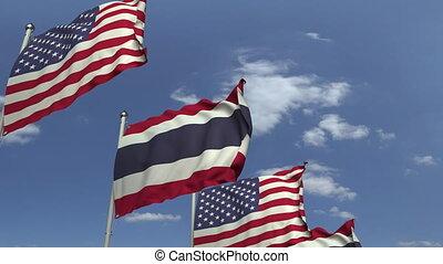 ciel bleu, usa, contre, animation, drapeaux, loopable, thaïlande, 3d