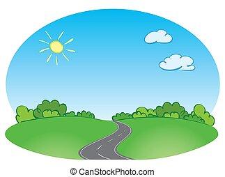 ciel bleu, vecteur, paysage vert, route