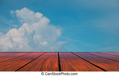 ciel, bois, perspective, terrasse