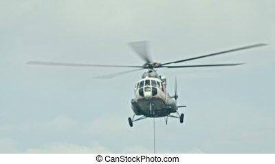 ciel, câble, hélicoptère volant, temps, dehors, pend, -,...