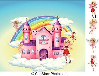 ciel, château, ensemble, fées