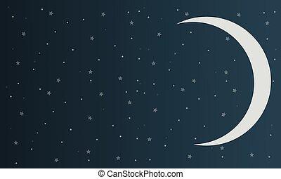 ciel, conception, étoile, fond, lune