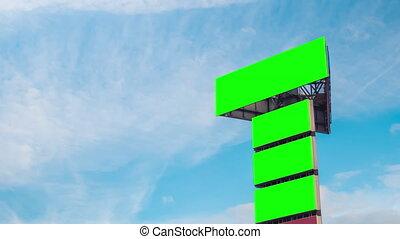ciel, contre, bleu, quatre, blanc, timelapse:, panneaux affichage, en mouvement, vide, nuages, vert