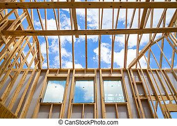 ciel, contre, construction, encadrement, nouvelle maison