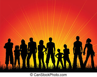 ciel coucher soleil, contre, foule, gens