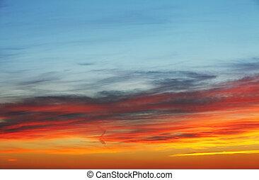 ciel, coucher soleil, fond