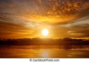 ciel coucher soleil, lac