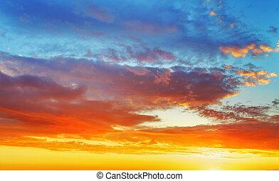 ciel, coucher soleil