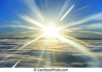 ciel, coucher soleil, soleil, et, nuages