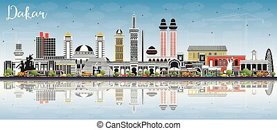 ciel, couleur, bleu, horizon, sénégal, dakar, ville, bâtiments, reflections.