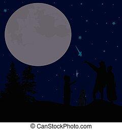 ciel, couple, nuit, silhouette, regarder
