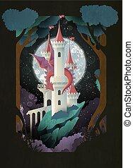 ciel, couverture, illustration, dragon, conte, livre, nuit, devant, fée, lune, château