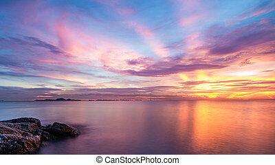 ciel, crépuscule, exposition, mer, temps, long, image