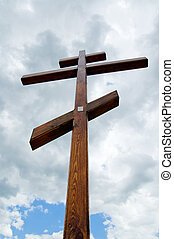 ciel, croix, fond, orthodoxe