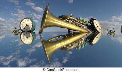 ciel, défaillance, miroir, deux, nuageux, clocks, 4k, temps, dessous, trompette
