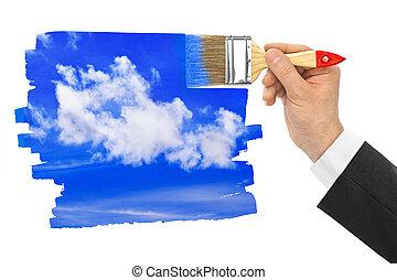 ciel, dessin, pinceau, main