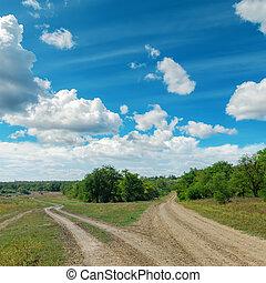 ciel, deux, nuageux, horizon, sous, route rurale