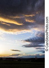ciel dramatique, à, nuages
