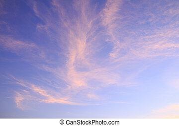 ciel, dramatique, coucher soleil