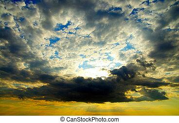 ciel, dramatique, nuages