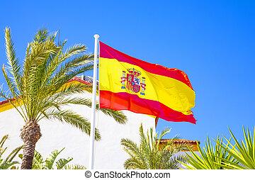 ciel, drapeau, espagnol, bleu