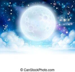 ciel, en-tête, fond, lune