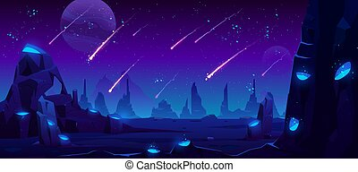 ciel, espace, fond, néon, pluie, météore, nuit