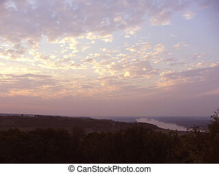 ciel, et, nuages, -, couchers de soleil