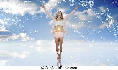 ciel, femme méditer