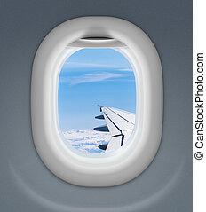 ciel, fenêtre, nuageux, derrière, aile avion