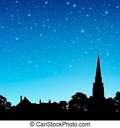 ciel, flèche église, nuit