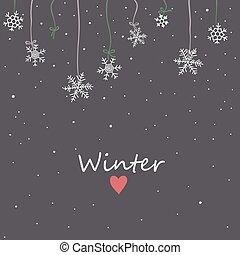 ciel, flocons neige, fond, nuit