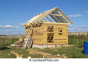 ciel, fond, construction, bois, barre, bâtiment