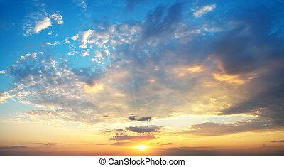 ciel, fond, Coucher soleil