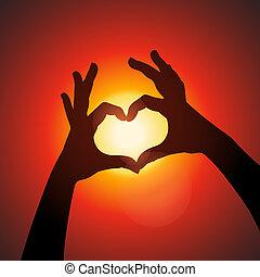 ciel, forme, silhouette, amour, mains