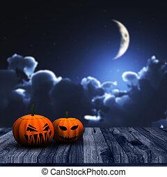 ciel, halloween, potirons, fond, nuit, 3d