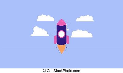 ciel, haut, lanceur, fusée, début